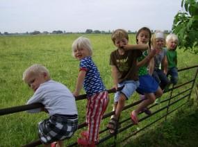 kinderen op de minicamping Lauwersmeer Friesland