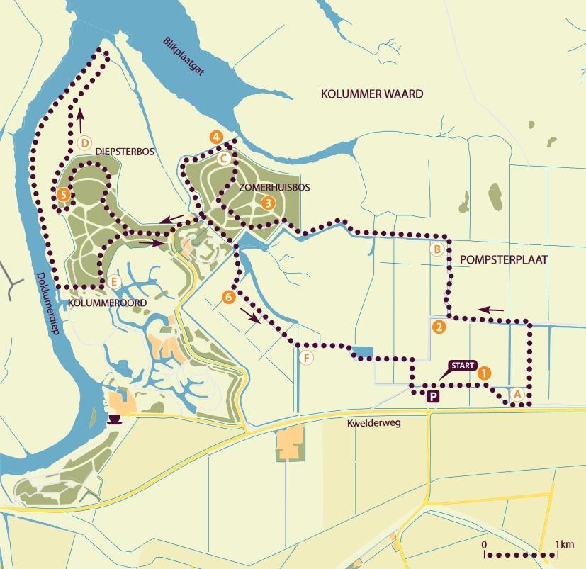 Wandelroute Kollumeroord Lauwersmeer Friesland