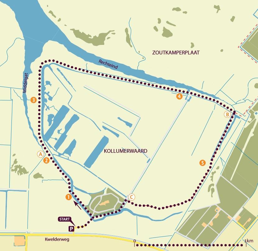 Wandelroute Kollumerwaard Lauwersmeer Friesland
