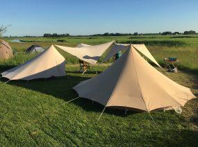 de Waard tents in the fields Lauwersmeer Friesland Netherlands