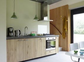 comfortable wooden kitchen design holiday home Friesland Netherlands