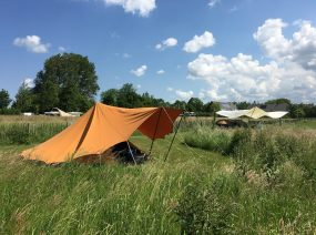 tents in the fields camping Friesland Netherlands
