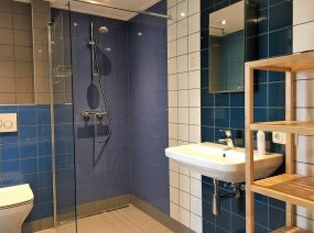 luxury bathroom with open shower holiday home Friesland Wadden Netherlands