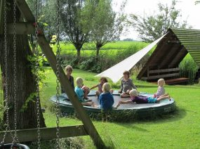 on the trampoline camping Kollum Friesland Netherlands