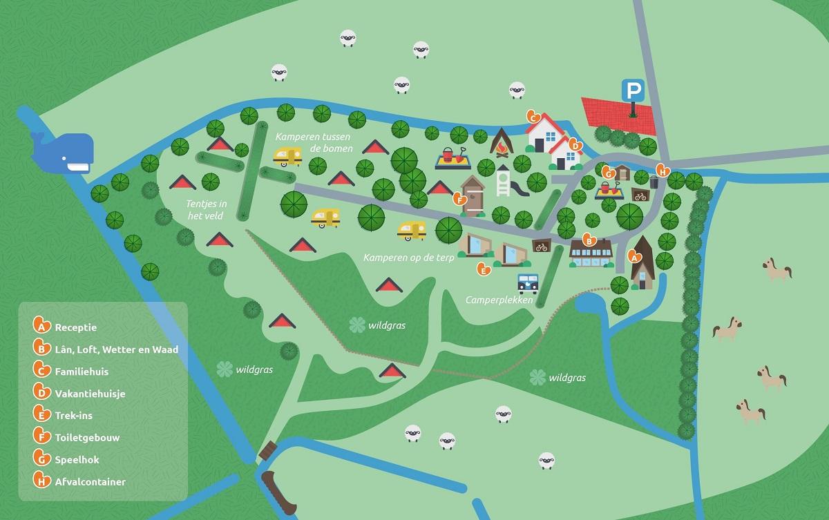 it Dreamlan plattegrond groene natuur camping minicamping Friesland Lauwersmeer